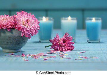 rose, chrysanthème, fleurs, bougies