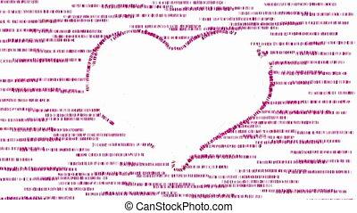 rose, coeur, animé, fond