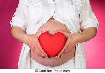 rose, coeur, femme, pregnant, arrière-plan., tenue