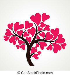 rose, coeur, le, arbre, forme, amant