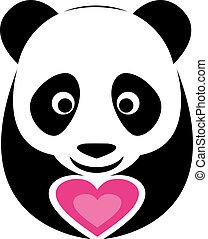 rose, coeur, panda