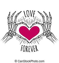 rose, coeur, squelette, mains