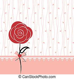 rose, conception, carte, rouges