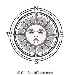 rose, conception, compas
