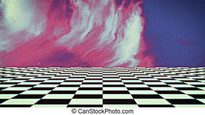 rose, contrôleur, en mouvement, planche, bleu, contre, modèle, fumée, fond