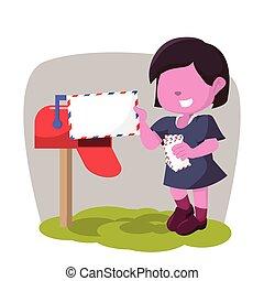 rose, courrier, girl, réception, boîte