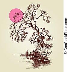 rose, croquis, entiers, arbre, lac, lune, rivière, ou