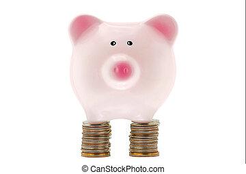 rose, debout, piggybank, céramique, dollar, isolé, etats, uni, pièces, blanc, pile