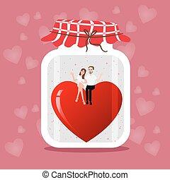 rose, dessiné, pot, deux, illustration, main, romance, vecteur, fond, mariage, cœurs, couple, maçon