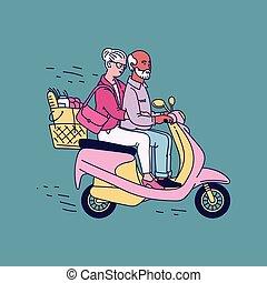 rose, dessin animé, vieux, couple, homme, scooter, -, femme aînée, équitation