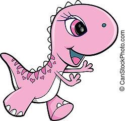rose, dinosaure, girl, vecteur, animal