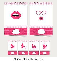 rose, ensemble, couleur, affiche, illustration, girl