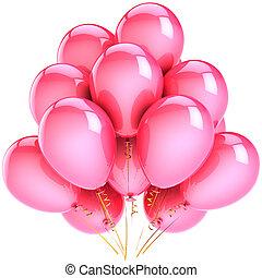 rose, fête, ballons, hélium, classique