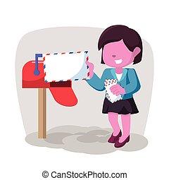rose, femme affaires, réception, courrier