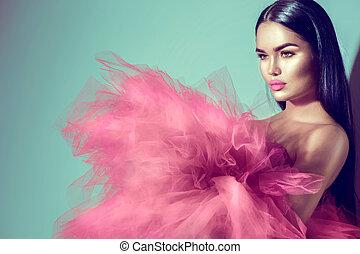 rose, femme, brunette, studio, magnifique, poser, modèle, robe