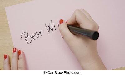 rose, femme, capital, écriture, papier, voeux, noir, lettre, mains, marqueur, mieux