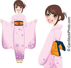 rose, femme, kimono, japonaise