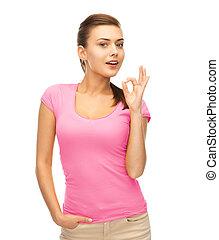 rose, femme, ok, projection, t-shirt, vide, geste
