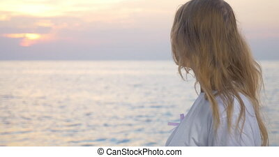 rose, femme, ruban, mer, conscience