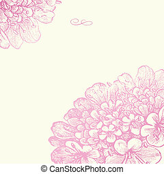 rose, floral, cadre, vecteur, carrée