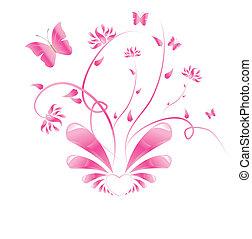 rose, floral, papillons, conception