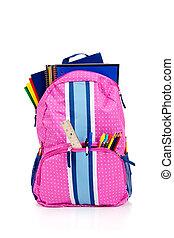 rose, fournitures, sac à dos, école
