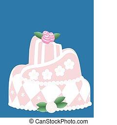 rose, gâteau, tout, occasions