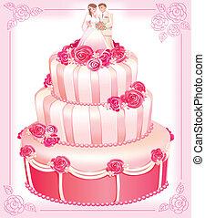 rose, gâteau, vecteur, mariage