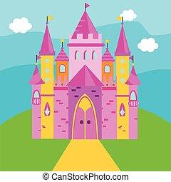 rose, gosses, palace., contes, illustration, vecteur, fée, enfants, château