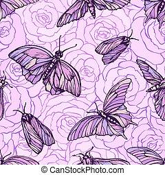 rose, graphique, modèle, seamless, texture, couleurs, vecteur, roses., élégant, papillons, doux