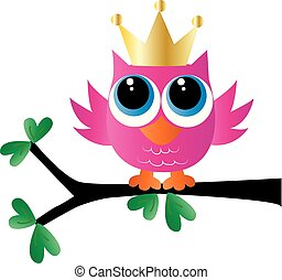 rose, hibou, peu, doré, doux, couronne