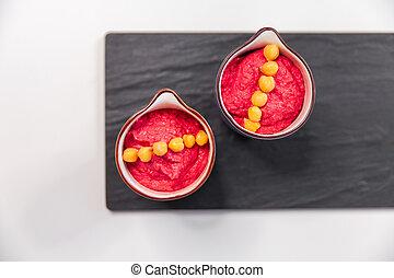 rose, hummus, plaque., betterave, jaune, clair