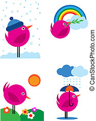 rose, icônes, -, quatre, 3, saisons, oiseaux