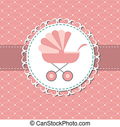 rose, illustration, nouveau né, voiture, vecteur, dorlotez fille