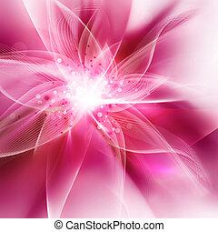 rose, incandescent, fleur