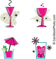 rose, isolé, collection, retro, blanc, boissons
