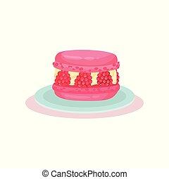 rose, macaron, vecteur, plat, doux, dessert., theme., recette, nourriture., culinaire, raspberry., livre, délicieux, menu, frais, café, ou