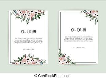 rose, mariage, arrière-plan., gabarit, invitation, fleurs blanches, botanique, conception, carte