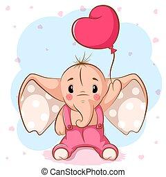 rose, mignon, éléphant, balloon.