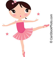 rose, mignon, ballerine, isolé, girl, blanc
