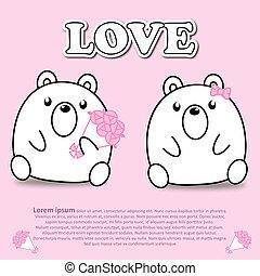 rose, mignon, bouquet fleur, rose, couple, ours, valentin, papier, coupure, concept, agréable, autocollant