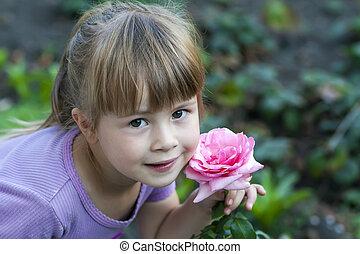 rose, mignon, peu, fleur, rose, girl