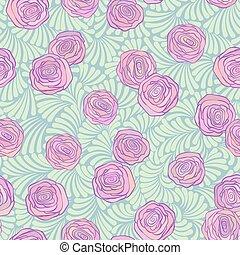 rose, mignon, pistache, couleur, modèle, boucles, seamless, roses, doux