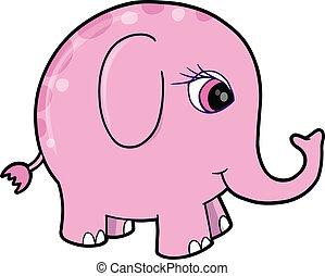rose, mignon, vect, animal, éléphant, girl