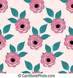 rose, modèle, feuilles vertes, seamless, roses