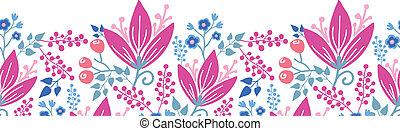 rose, modèle, seamless, fond, horizontal, fleurs, frontière