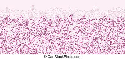 rose, modèle, seamless, fond, lineart, fleurs, horizontal