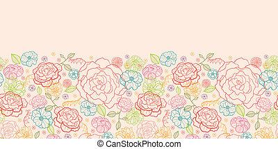rose, modèle, seamless, roses, fond, horizontal, frontière