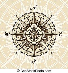 rose, nautique, vendange, compas