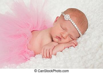 rose, nouveau né, girl, tutu, bébé